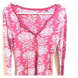 Guess thermal long sleeve size L with pink floral